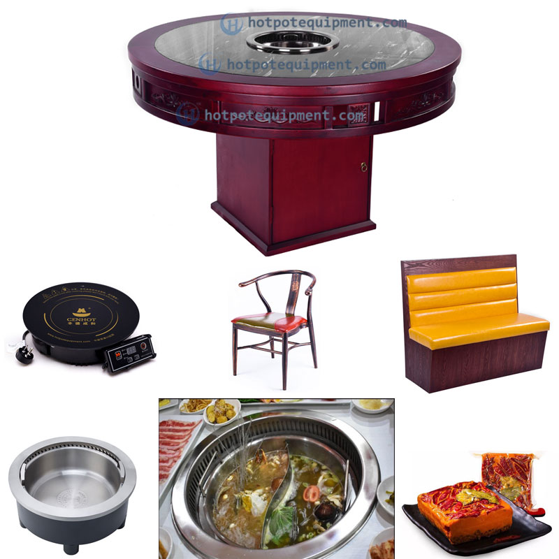Round Wooden Chinese Downdraft Hot Pot Table For Restaurant Manufacturer effect - CENHOT