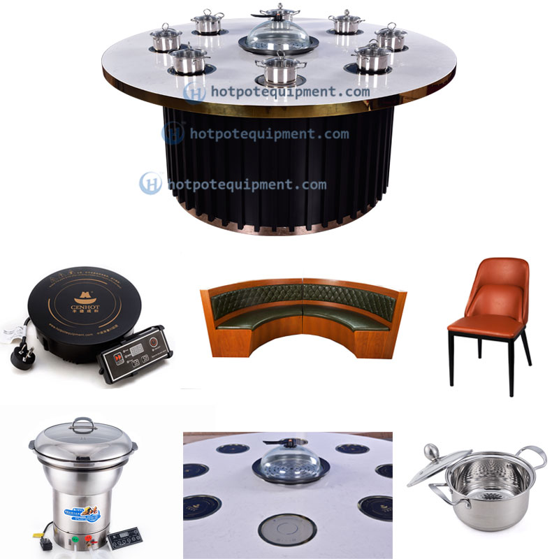 Customize Restaurant Round Hot Pot Table effect - CENHOT