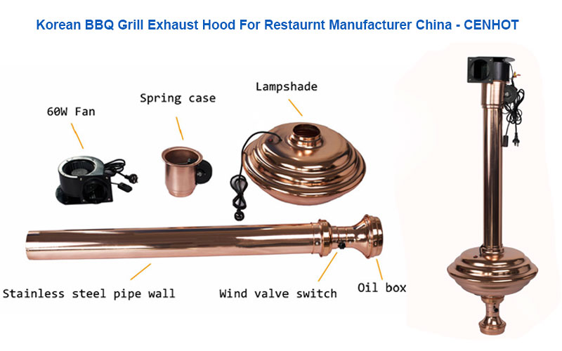 Korean BBQ Grill Exhaust Hood For Restaurant structure - CENHOT
