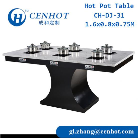 Modern Restaurant Hot Pot Table Quartz Stone Tabletop ODM - CENHOT