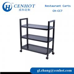Serving Cart Movable Metal 3 Tier Rubber Wheel For Restaurant